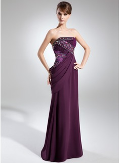 Sheath Strapless Floor-Length Chiffon Charmeuse Evening Dress With Ruffle Beading
