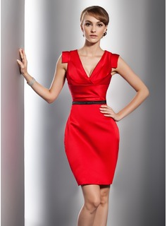 Sheath V-neck Knee-Length Satin Cocktail Dress With Ruffle Sash (016014731)