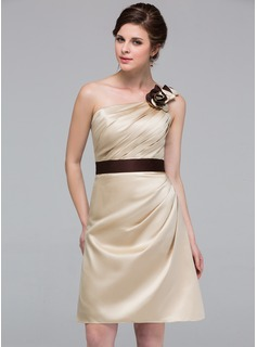 Sheath One-Shoulder Knee-Length Satin Bridesmaid Dress With Ruffle Sash Flower(s)