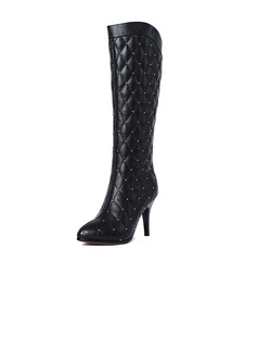 Real Leather Stiletto Heel Knee High Boots With Rhinestone shoes