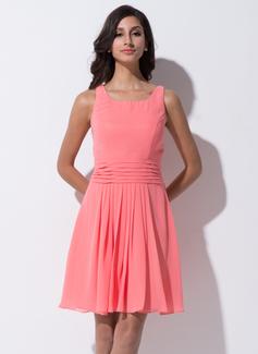 A-Line/Princess Square Neckline Knee-Length Chiffon Bridesmaid Dress With Ruffle