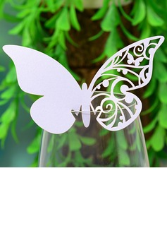 Butterfly Design Pearl Paper Place Cards (set of 12)