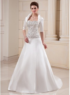 A-Line/Princess Sweetheart Court Train Satin Wedding Dress With Embroidery Beadwork Sequins (002012599)