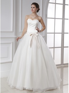 Ball-Gown Sweetheart Floor-Length Organza Satin Wedding Dress With Sash Bow(s)