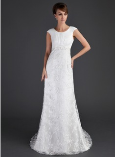 Sheath/Column Scoop Neck Court Train Satin Tulle Lace Wedding Dress With Ruffle Beadwork