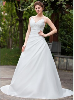 A-Line/Princess V-neck Cathedral Train Taffeta Wedding Dress With Ruffle Lace Beadwork (002026583)