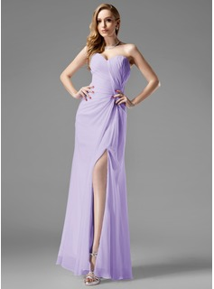 Sheath Sweetheart Floor-Length Chiffon Holiday Dress With Ruffle