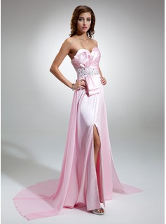 A-Line/Princess Sweetheart Watteau Train Chiffon Charmeuse Prom Dress With Ruffle Beading Sequins Bow(s) Split Front