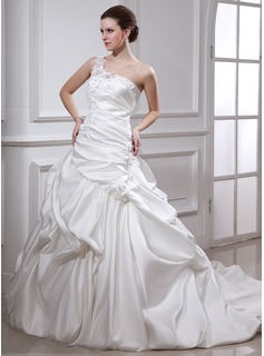 Ball-Gown One-Shoulder Chapel Train Satin Wedding Dress With Ruffle Lace Beading Flower(s)