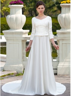 A-Line/Princess Scoop Neck Chapel Train Satin Wedding Dress With Embroidery Beadwork (002012641)