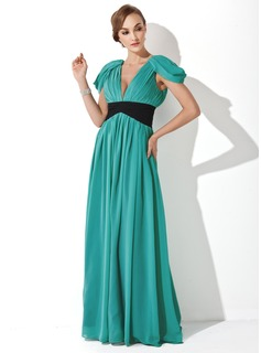 A-Line/Princess V-neck Floor-Length Chiffon Evening Dress With Ruffle Sash