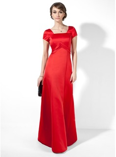 Empire Square Neckline Floor-Length Satin Evening Dress With Ruffle