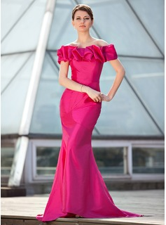 Mermaid Off-the-Shoulder Sweep Train Taffeta Mother of the Bride Dress With Ruffle