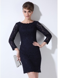 Sheath Scoop Neck Short/Mini Lace Mother of the Bride Dress (008005636)