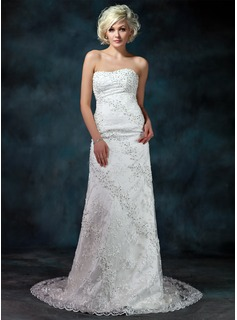 Sheath/Column Sweetheart Chapel Train Satin Lace Wedding Dress With Beading Sequins