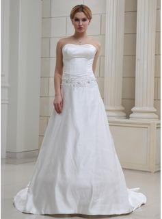 A-Line/Princess Sweetheart Court Train Satin Wedding Dress With Lace Beadwork (002001652)