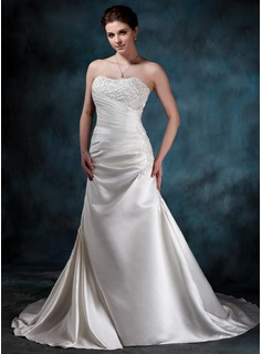 A-Line/Princess Sweetheart Chapel Train Satin Wedding Dress With Ruffle Lace Beading