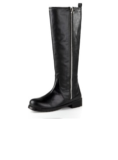 Real Leather Low Heel Flats Closed Toe Knee High Boots With Zipper shoes