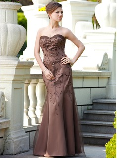 A-Line/Princess Sweetheart Floor-Length Satin Tulle Mother of the Bride Dress With Beading Sequins