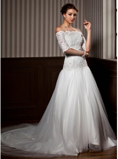 A-Line/Princess Strapless Court Train Satin Tulle Wedding Dress With Ruffle Lace Beadwork (002012172)