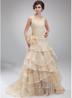 A-Line/Princess V-neck Court Train Organza Holiday Dress With Lace Beading Cascading Ruffles Pleated