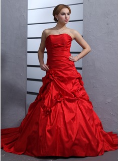 Ball-Gown Sweetheart Cathedral Train Taffeta Wedding Dress With Ruffle Flower(s)