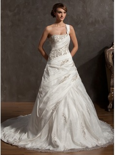 Ball-Gown One-Shoulder Cathedral Train Taffeta Organza Wedding Dress With Beading