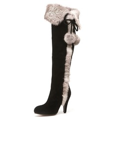 Suede Stiletto Heel Over The Knee Boots With Fur shoes (088039938)
