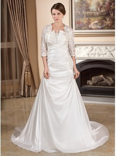 A-Line/Princess Scalloped Neck Court Train Taffeta Wedding Dress With Ruffle (002012567)