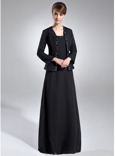 A-Line/Princess Square Neckline Floor-Length Chiffon Mother of the Bride Dress With Beading