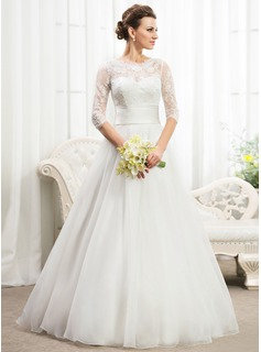 A-Line/Princess Scoop Neck Floor-Length Organza Lace Wedding Dress With Ruffle Beading Sequins