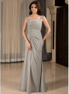 Mermaid Sweetheart Floor-Length Chiffon Evening Dress With Ruffle Lace Beading