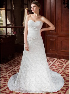 A-Line/Princess Sweetheart Chapel Train Chiffon Lace Wedding Dress With Ruffle Flower(s) (002024458)