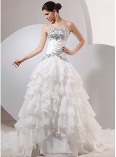 Ball-Gown Strapless Chapel Train Satin Tulle Wedding Dress With Ruffle Beading