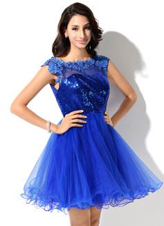 Corte A/Princesa Escote redondo Corto/Mini Tul Con lentejuelas Vestido de baile de promoción con Encaje Bordado