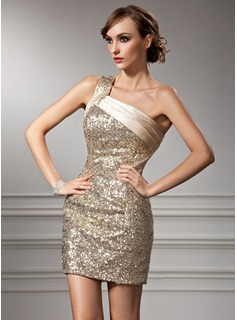 Sheath One-Shoulder Short/Mini Charmeuse Sequined Cocktail Dress With Ruffle