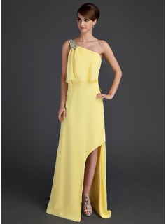 A-Line/Princess One-Shoulder Asymmetrical Chiffon Holiday Dress With Beading Split Front