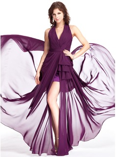 Sheath Halter Sweep Train Chiffon Evening Dress With Ruffle