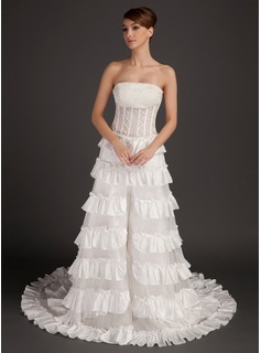 A-Line/Princess Strapless Chapel Train Taffeta Organza Prom Dress With Beading