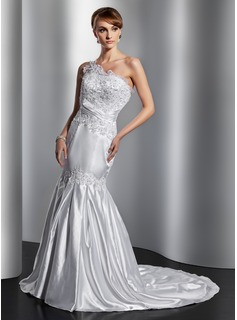 Mermaid One-Shoulder Court Train Charmeuse Wedding Dress With Lace Beadwork