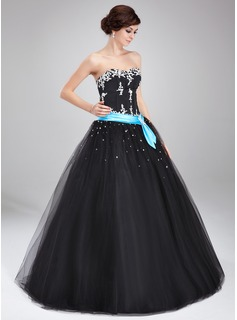 Ball-Gown Sweetheart Floor-Length Satin Tulle Quinceanera Dress With Lace Sash Beading (021004714)