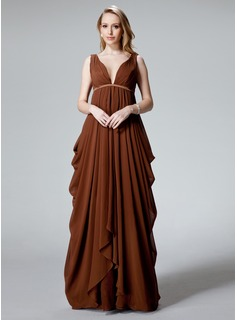 Empire V-neck Floor-Length Chiffon Charmeuse Evening Dress With Ruffle