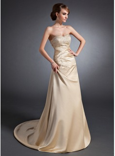 A-Line/Princess Sweetheart Sweep Train Satin Wedding Dress With Embroidery Ruffle Beading Sequins
