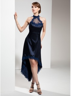 A-Line/Princess Halter Asymmetrical Tulle Charmeuse Cocktail Dress With Lace (016008531)