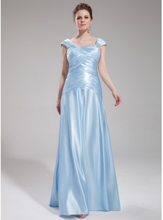 A-Line/Princess Square Necklin Floor-Length Charmeuse Evening Dress With Ruffle Beading (017019555)