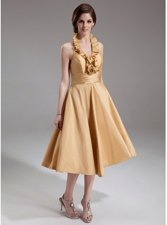 A-Line/Princess Halter Tea-Length Taffeta Homecoming Dress With Ruffle (022011245)