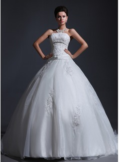 Ball-Gown Strapless Court Train Organza Satin Wedding Dress With Lace Beadwork (002017382)