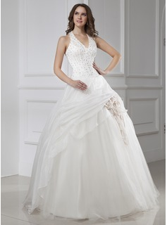 Ball-Gown Halter Floor-Length Organza Satin Tulle Wedding Dress With Beadwork Flower(s)