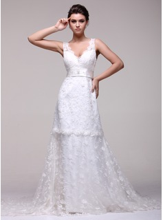 A-Line/Princess V-neck Chapel Train Satin Lace Wedding Dress With Beadwork
