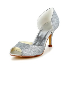 Women's Sparkling Glitter Stiletto Heel Peep Toe Pumps Sandals (047040183)